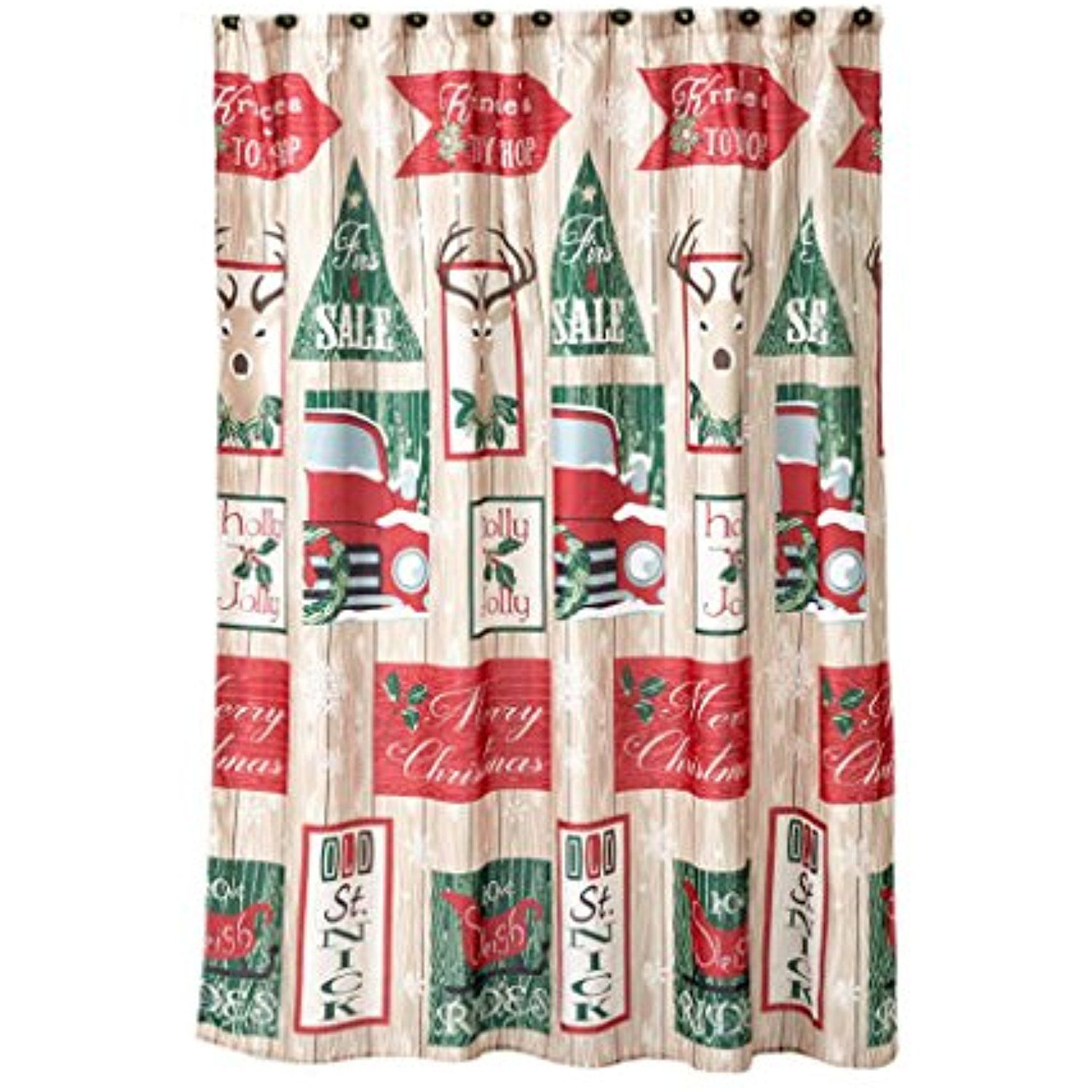 Christmas Shower Curtain Retro Truck And Signs With 12 Matching