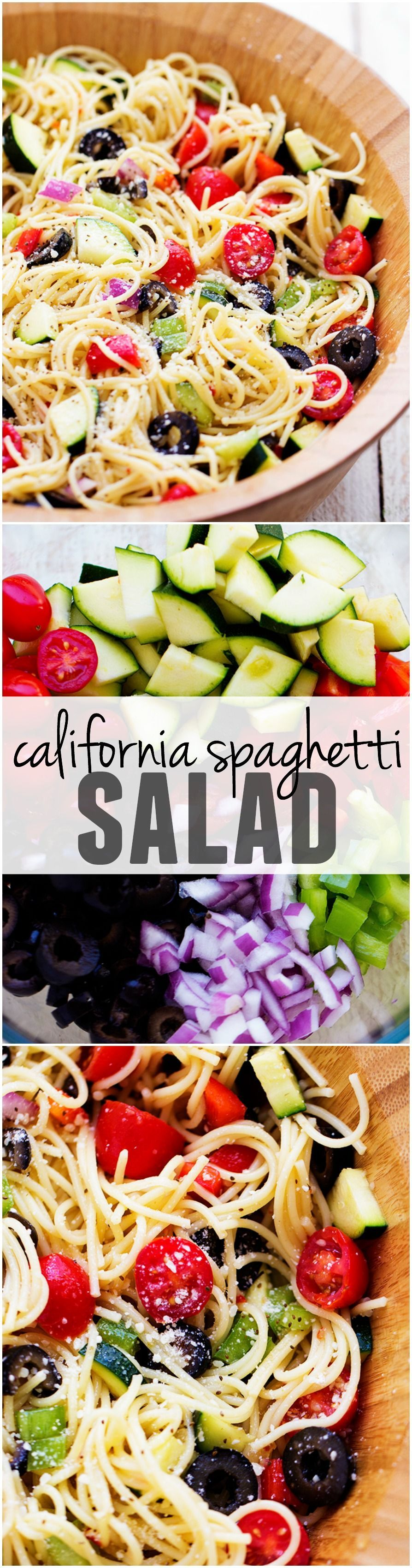California Spaghetti Salad is full of delicious summer veggies and topped with zesty italian dressing... it will be the HUGE HIT of any potluck!