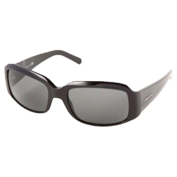 """Prada black polarized sunglasses (SPR 12H) These black plastic Prada polarized sunglasses (style SPR12H) have grey polycarbonate polarized lenses that reduce glare from bright lights or the sun. The lenses are impact resistant and have full UV protection. The """"eye size"""" is 56cm, the bridge is 18cm, and the temple is 130cm. The temples slightly adjusted to fit my face. These were worn three times. Made in Italy. Case, box, cleaning cloth, and certificate of authenticity included. Covershot…"""