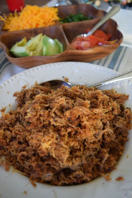 Taco Pork.  Make ahead in crock pot and freeze for weekly meals