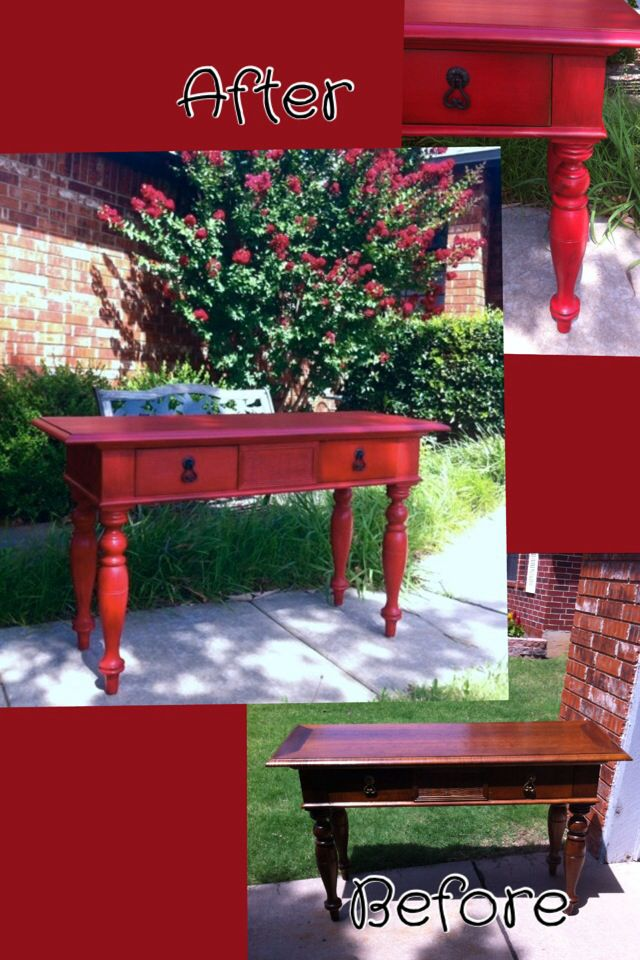 Rustic red entry table makeover DIY chalk paint with a special