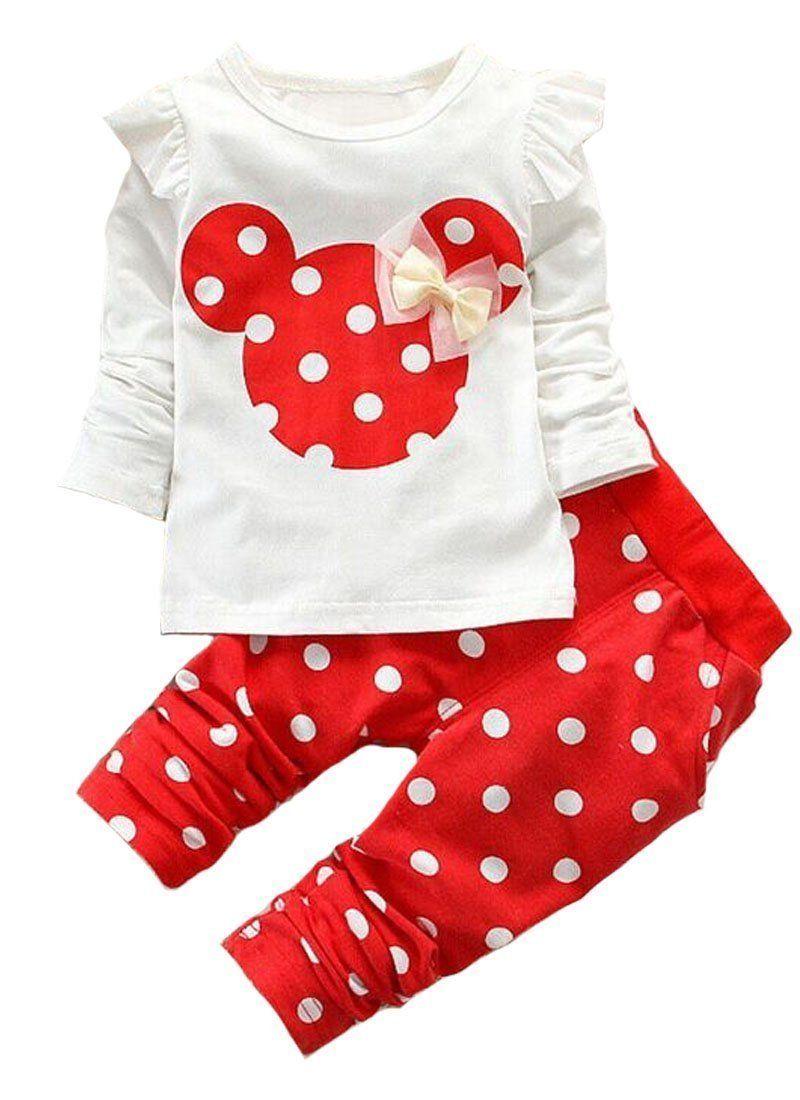 2pc Toddler Infant Girls Outfits Polka Dot Tops+Bowknot Pants Shorts Clothes Set