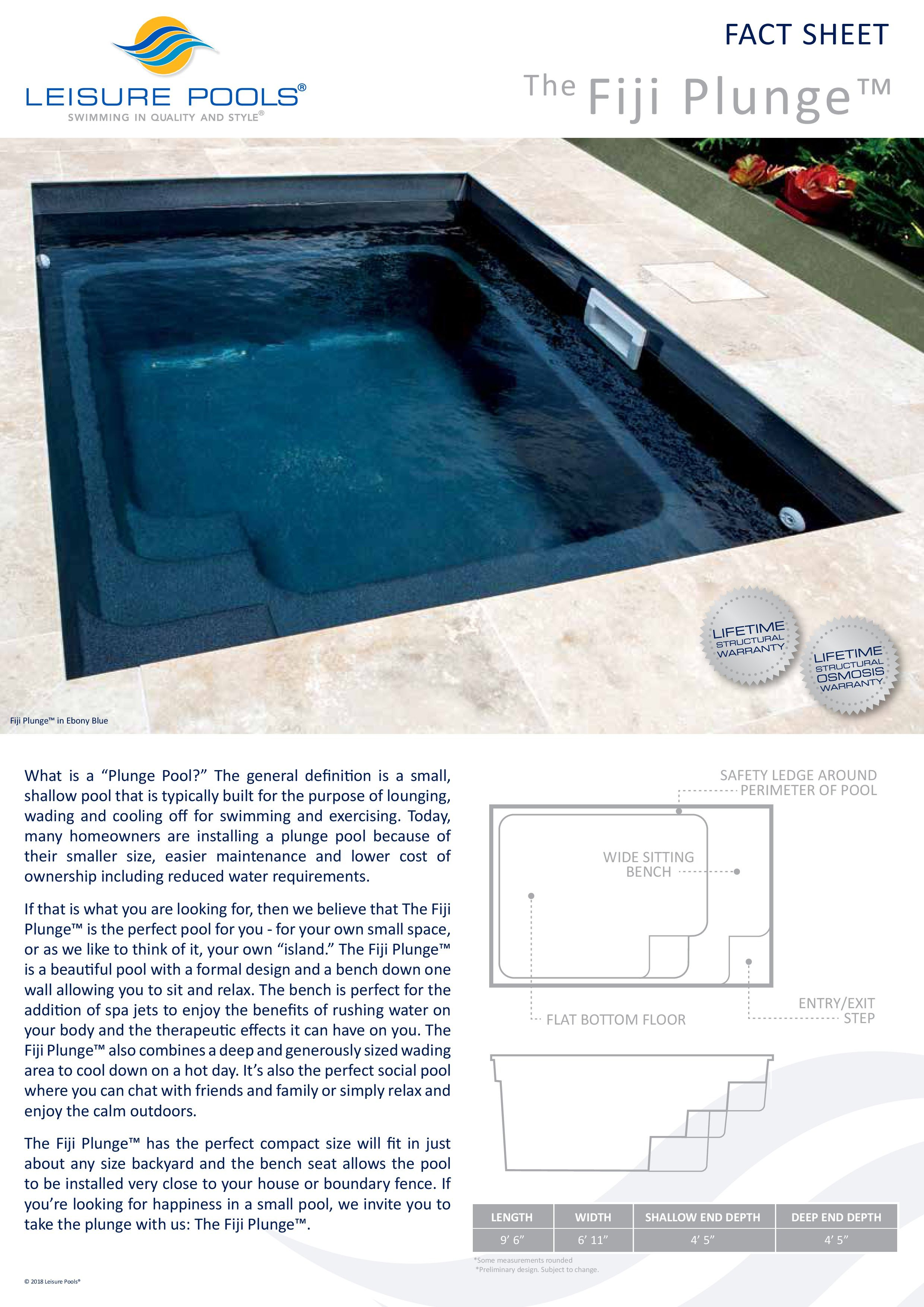 Leisure Pools Is Now Offering The Fiji Plunge Composite Fiberglass Swimming Pool It Measures 10 Feet By 7 Leisure Pools Plunge Pool Fiberglass Swimming Pools