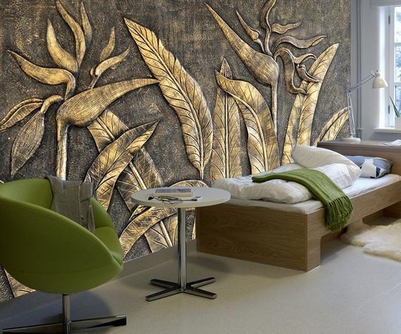 Home Design 3d Gold: 3D Embossed Wallpaper Gold Sculpture Wall Mural Paradise