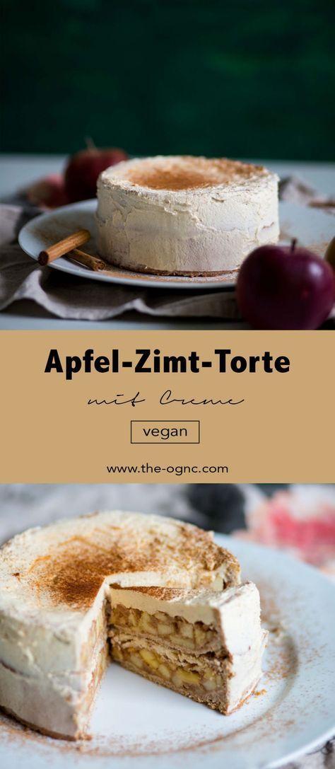 Vegane Apfel-Zimt-Torte mit Creme - einfach und lecker