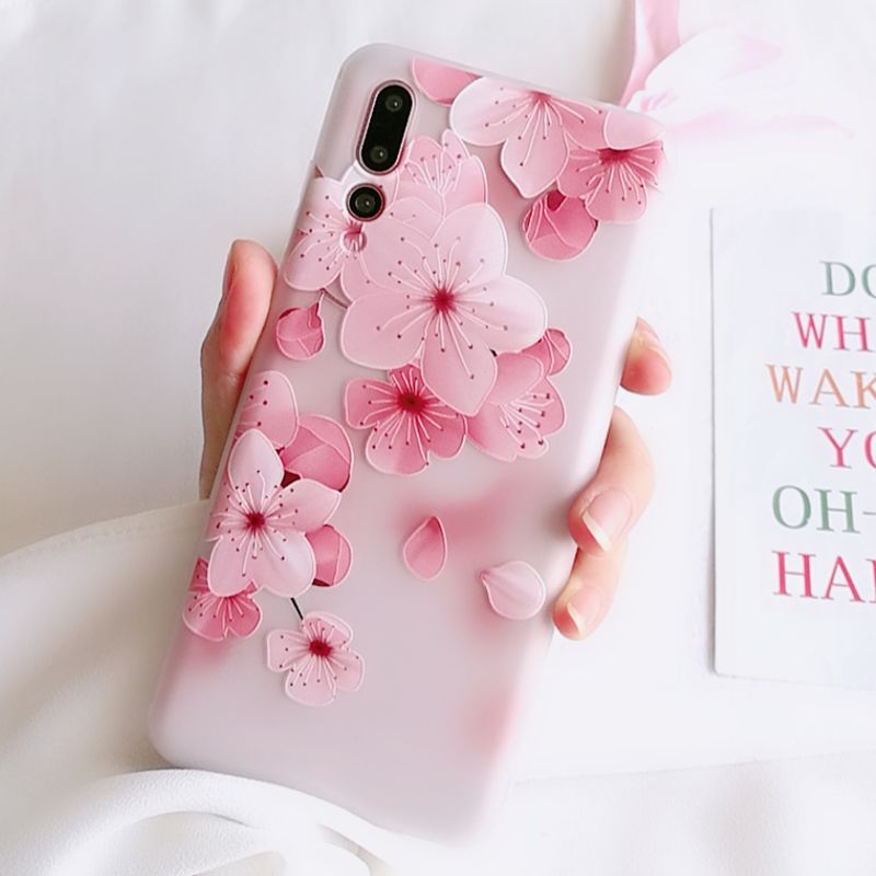 huge selection of a5510 f9c38 Girls Phone Cases Covers Pink Flower Illustration Silicone TPU ...