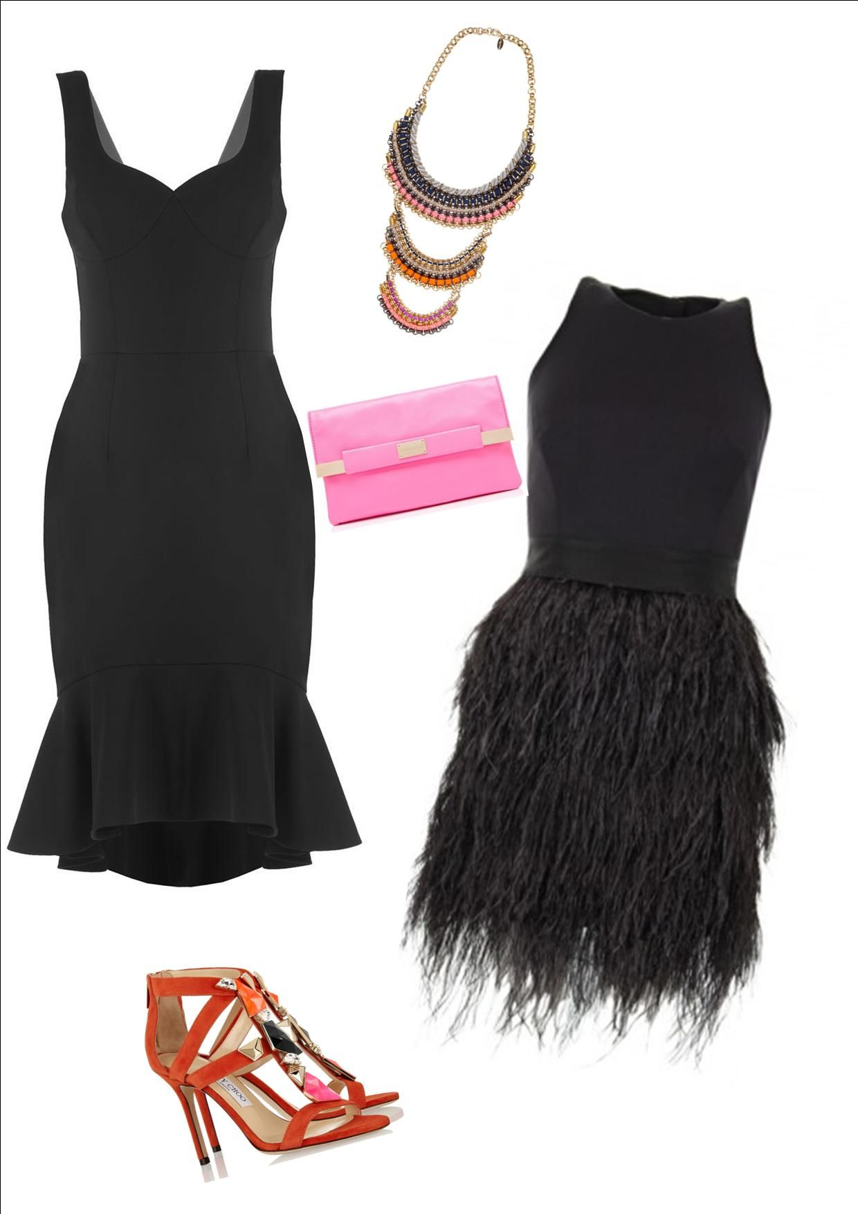 The little black cocktail dress. Add colour with shoes and ...