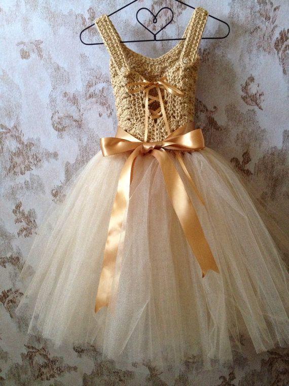 efc14d07081 Gold flower girl tutu dress ankle length tutu dress Boho by Qt2t ...