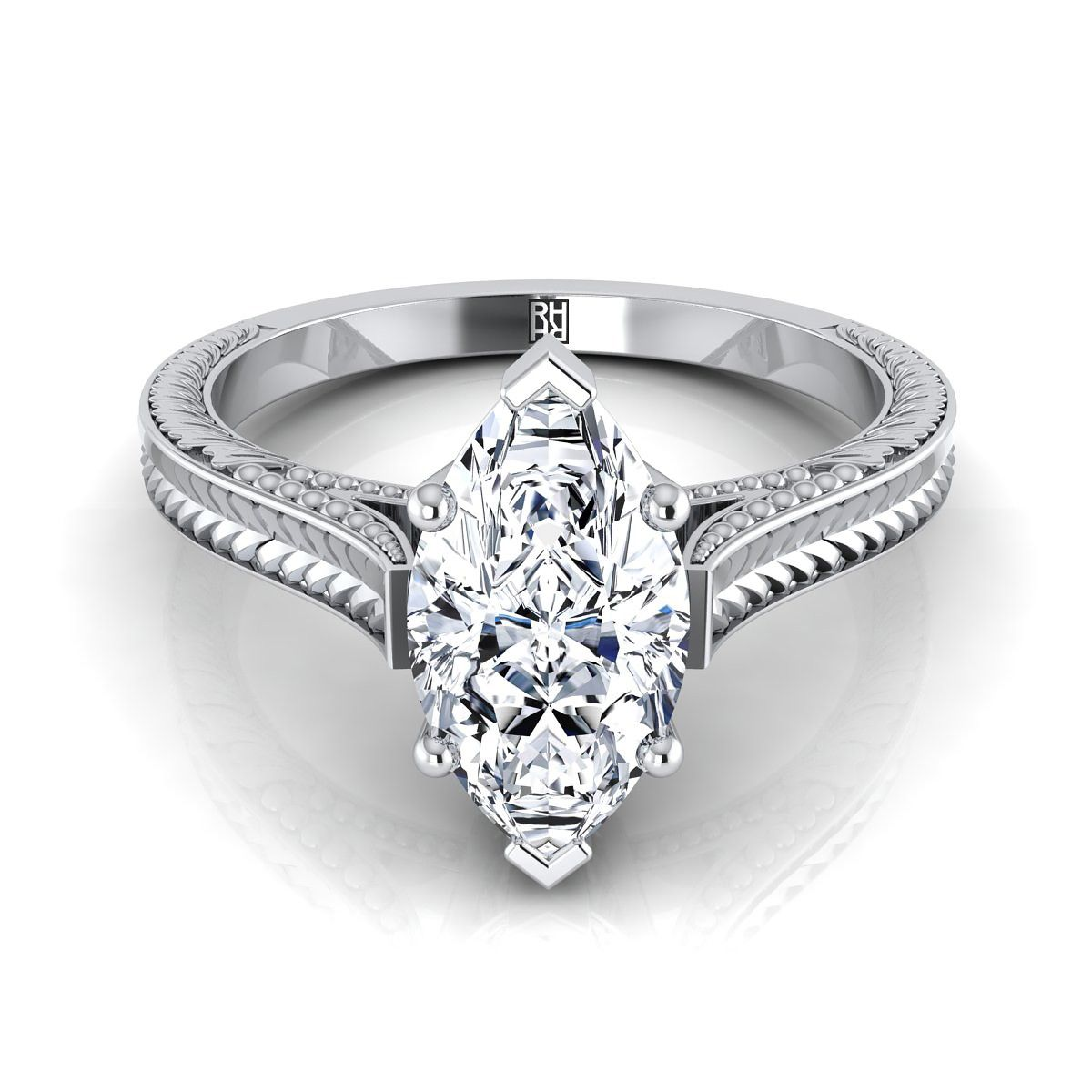 Marquise Antique Inspired Engraved Diamond Engagement Ring
