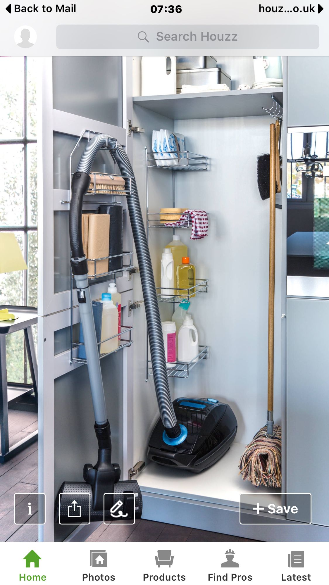 Awesome Contemporary Kitchen With Cool Broom Storage Also Modern Black  Vacuum Cleaner Also Mop And Cleaning Equipment Also Lovely Yellow Table  Lamp Also ...