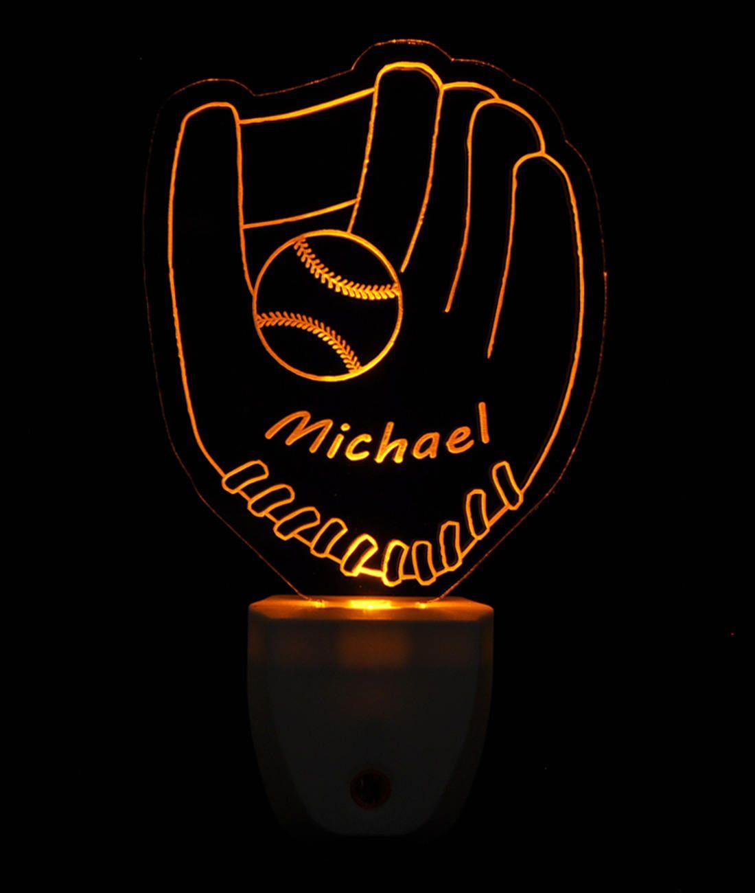 Baseball And Baseball Glove Light Sensor LED Plug In Night Light, Personalized Custom LED Nightlight by NeedForLight on Etsy