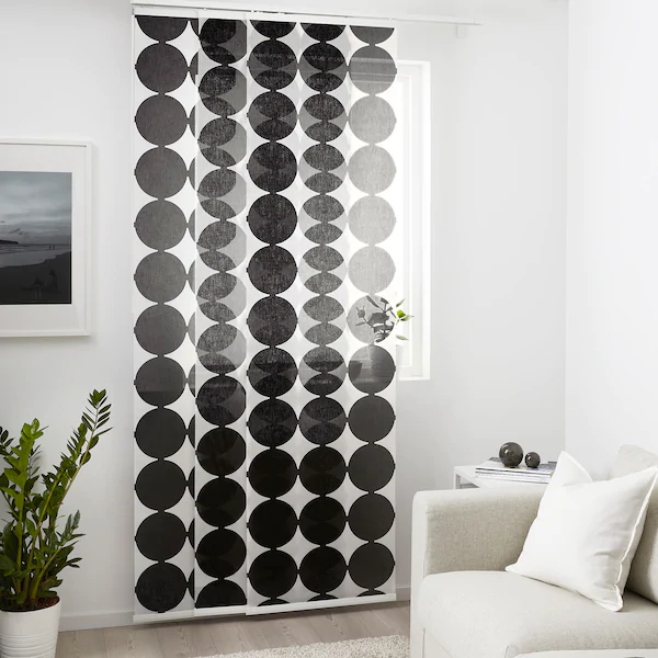 Rangela Panel Curtain White Black 24x118 Ikea In 2020 Panel Curtains White Curtains Room Divider Curtain