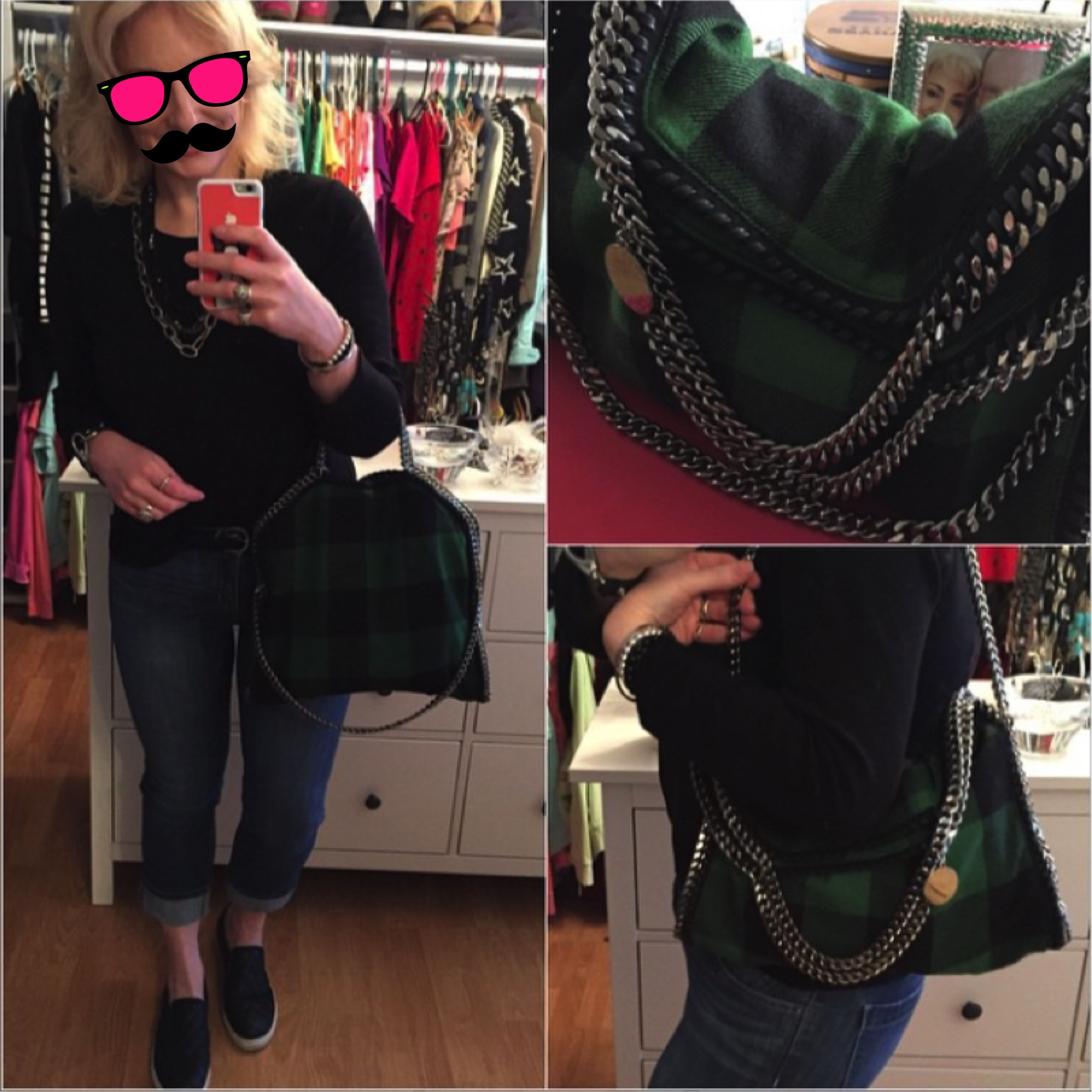 7ae928e3f6d1 Green Plaid Fold Over Falabella Tote ~ Tips for getting the perfect fold  when grabbing the long chain for shoulder  Keep the interior pocket on the  opposite ...