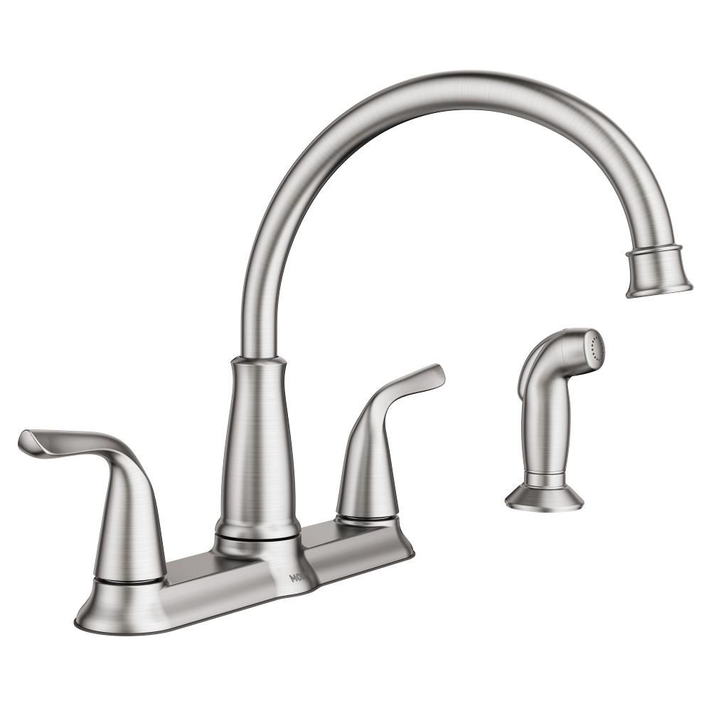 Moen Brecklyn 2 Handle Standard Kitchen Faucet With Side Sprayer