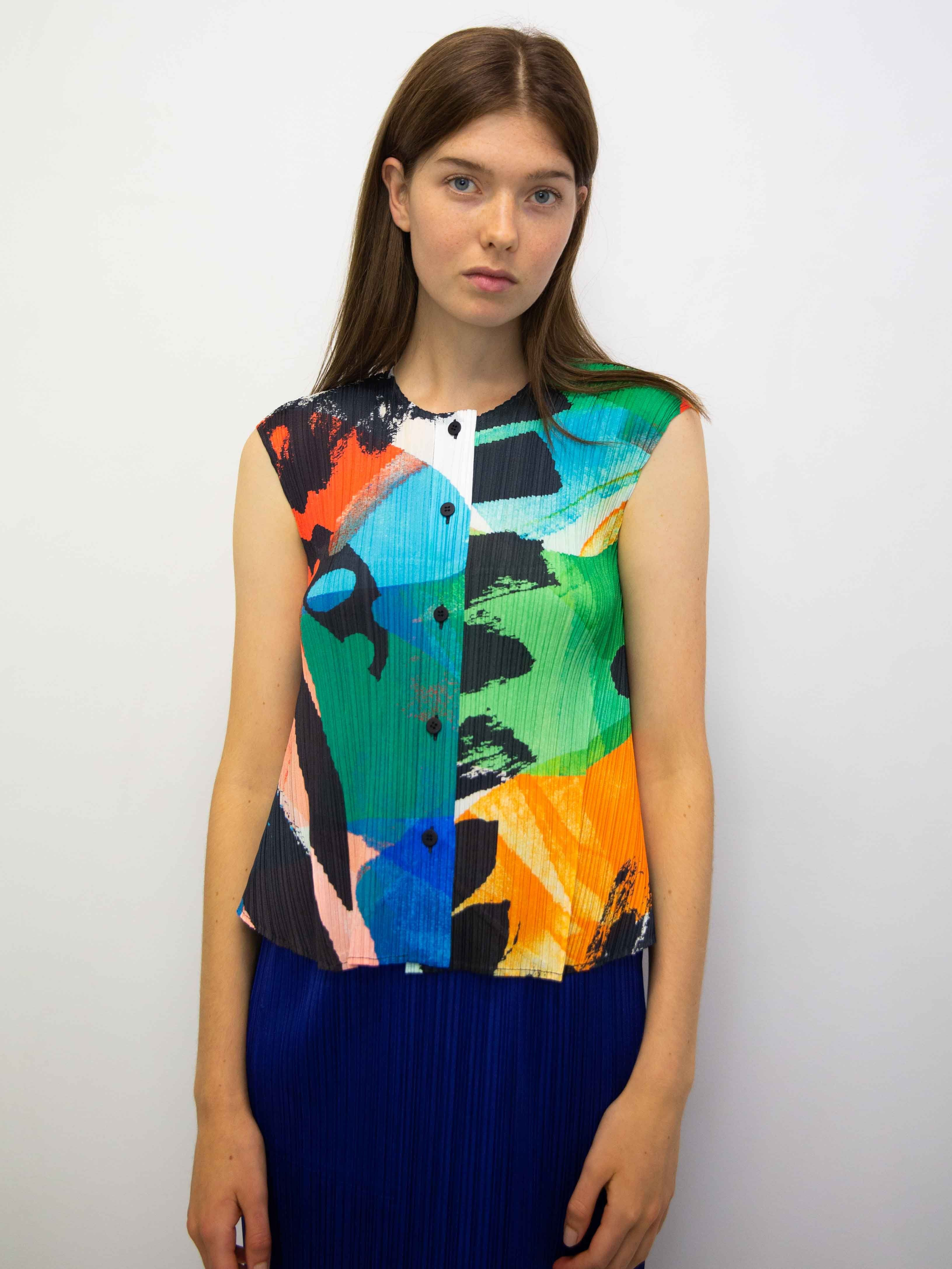 9f4aef5c09b3c1 PLEATS PLEASE ISSEY MIYAKE Laughing Rope Button Up Sleeveless Top –  Shifting Worlds