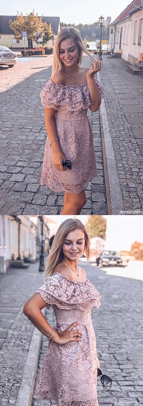 Elegant Off The Shoulder Blush Lace Short Homecoming Dresses