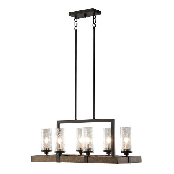 The Vineyard Metal And Wood 6 Light Chandelier Features A Rectangular Shaped Frame In Warm