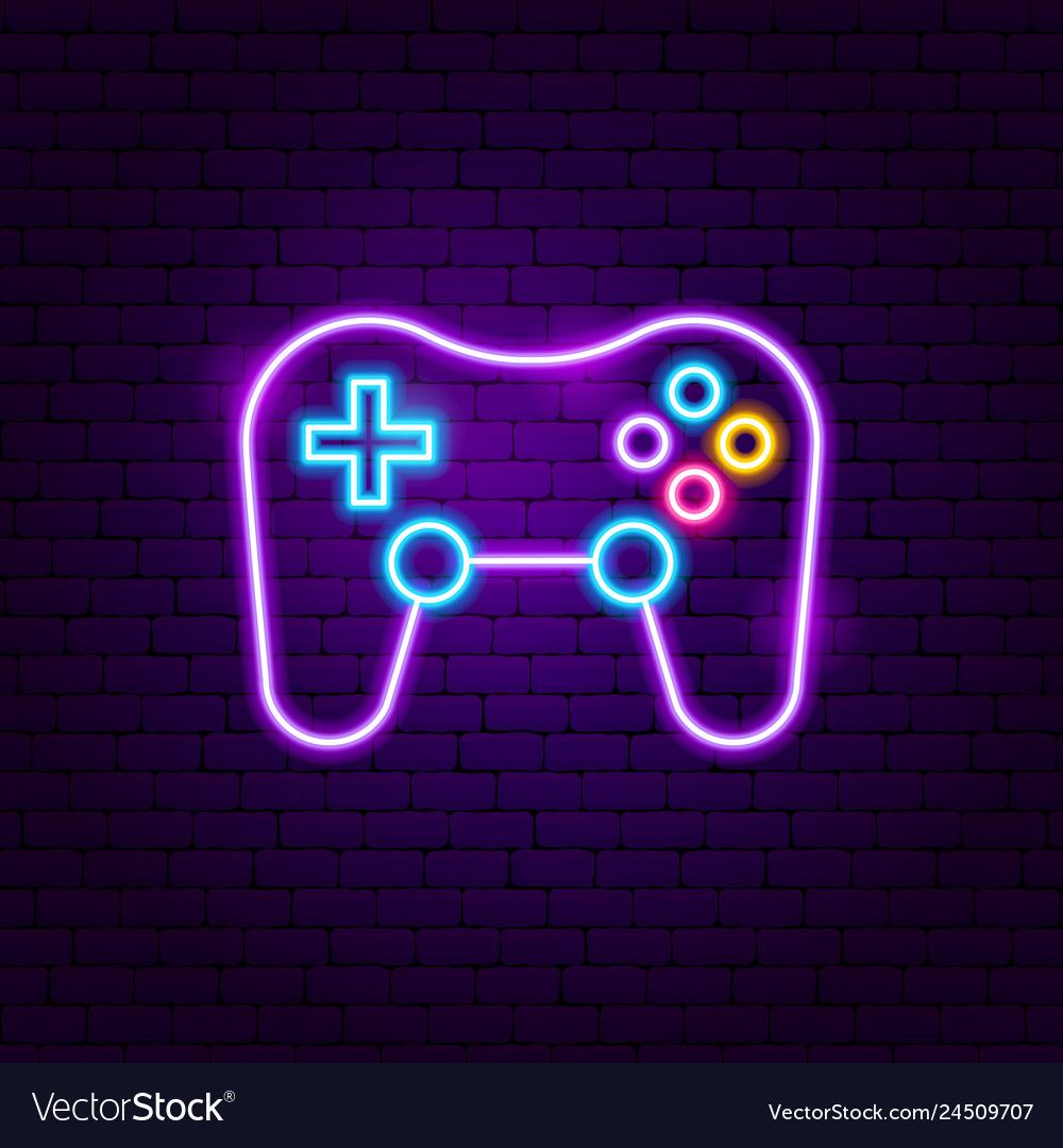 Game playing neon sign vector image on VectorStock in 2020