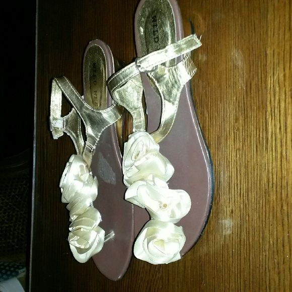 gold tone Sandals  with flower on top These sandals were not worn but 1 time.  Indoors were wrong size for me. wild west Shoes Sandals