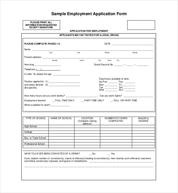 sample of application forms