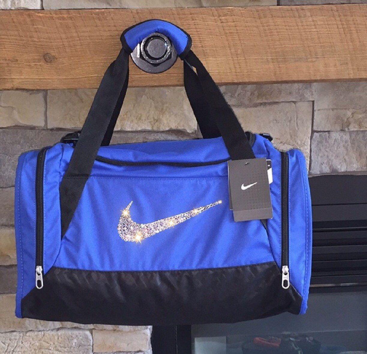 e1b5b32cb9 Crystal Bling Swarovski Nike Duffel Royal Blue   Etsy   Nike duffle ...