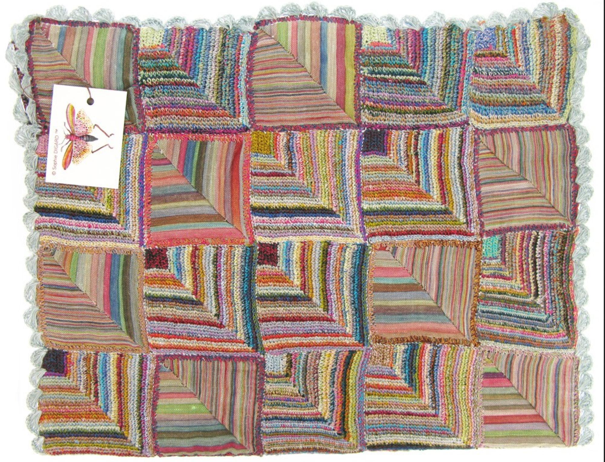 Sophie Digard crochet - Shell Beach. Combines linen fabric and linen thread crochet work.