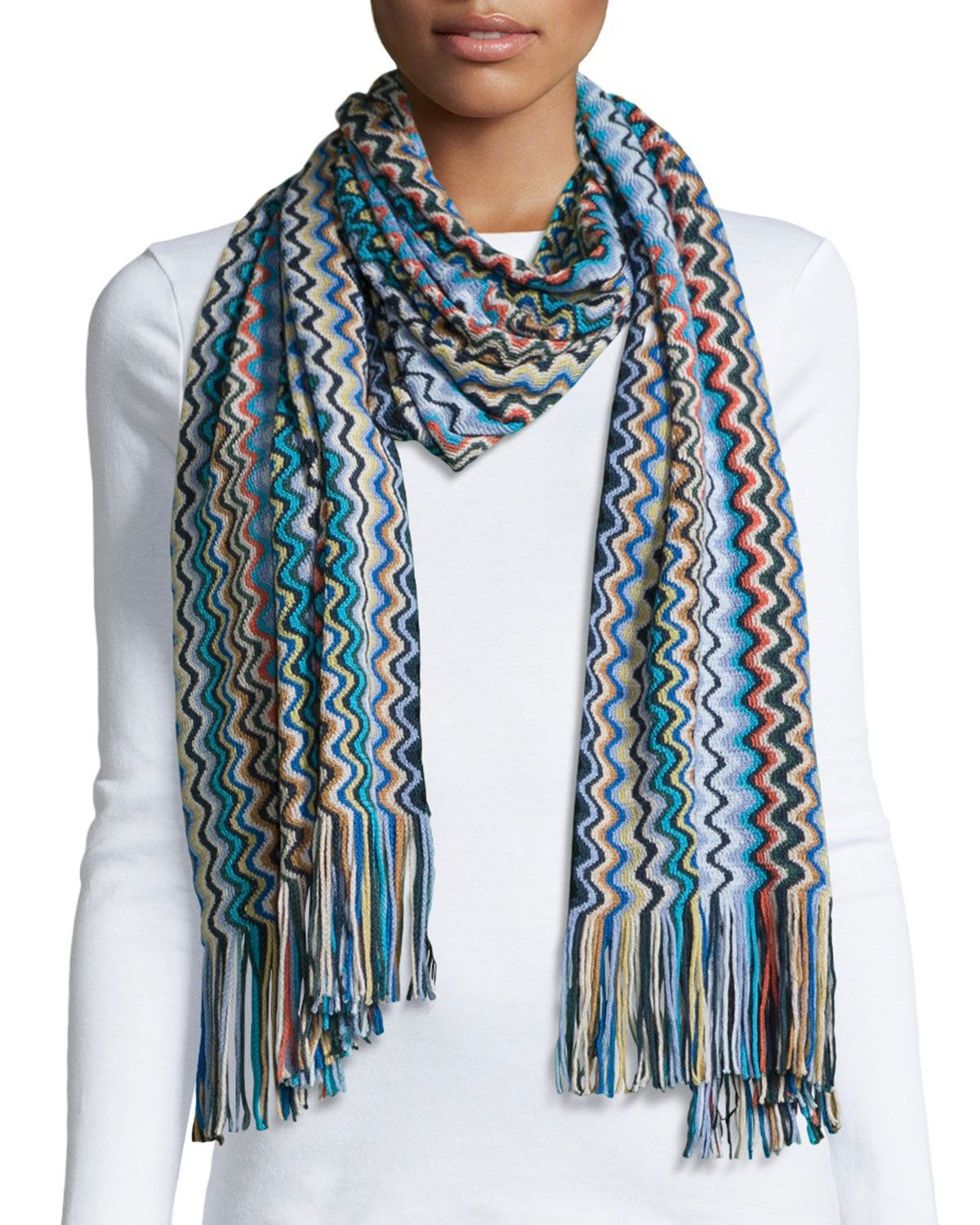 ada9c94a88cb3 Knit Zigzag Scarf Blue in 2019 | *Clothing Accessories > Scarves ...