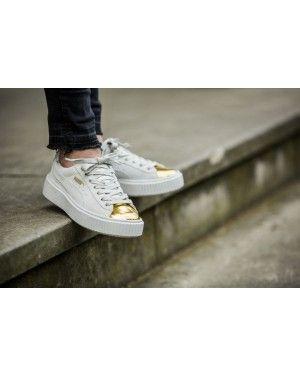 puma suede platform metallic gold