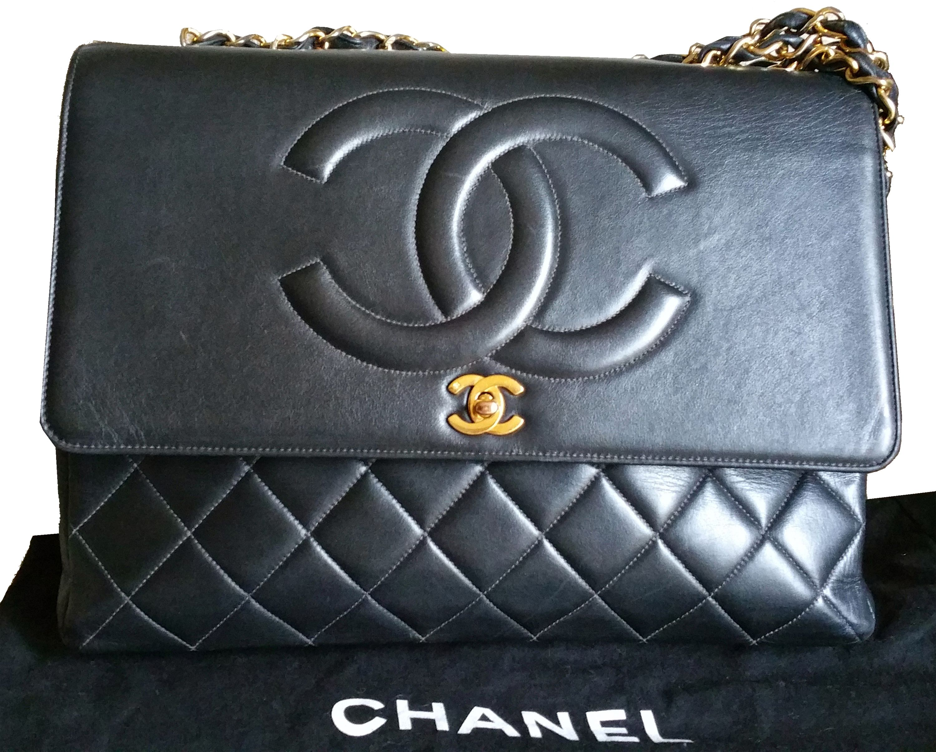 Authentic Chanel Rare Jumbo CC Quilted Maxi Lambskin Double Chain Bag  Made  in France  249xxxxx  Comes with dustbag -Approximately 13.25