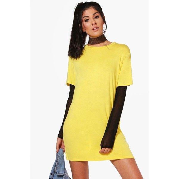 bdeeb8b92ce Boohoo Mol Mesh Sleeve Double Layer T-Shirt Dress ( 24) ❤ liked on Polyvore  featuring dresses