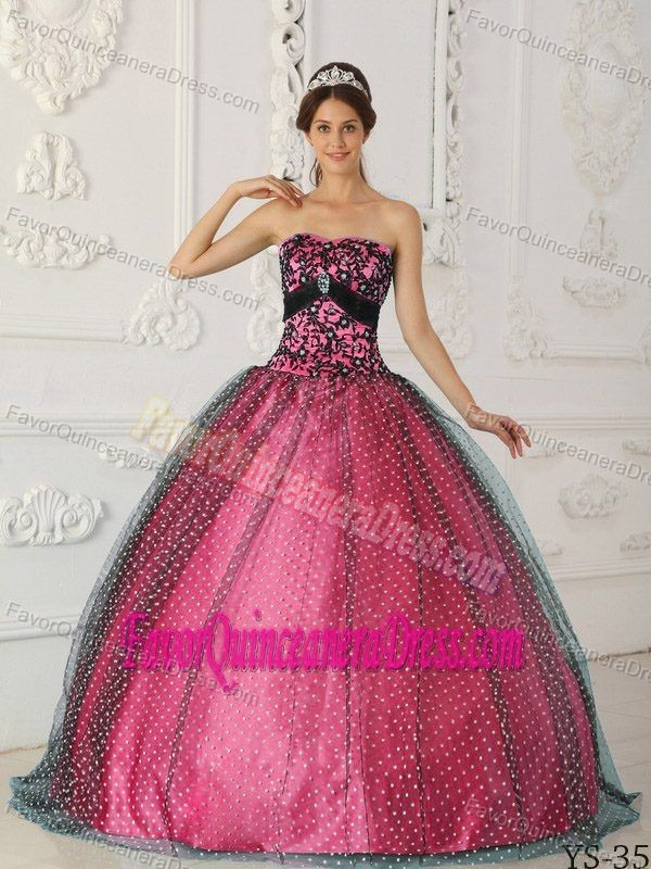 Black And Hot Pink Ball Gown Dresses For Quinceaneras In Taffeta And