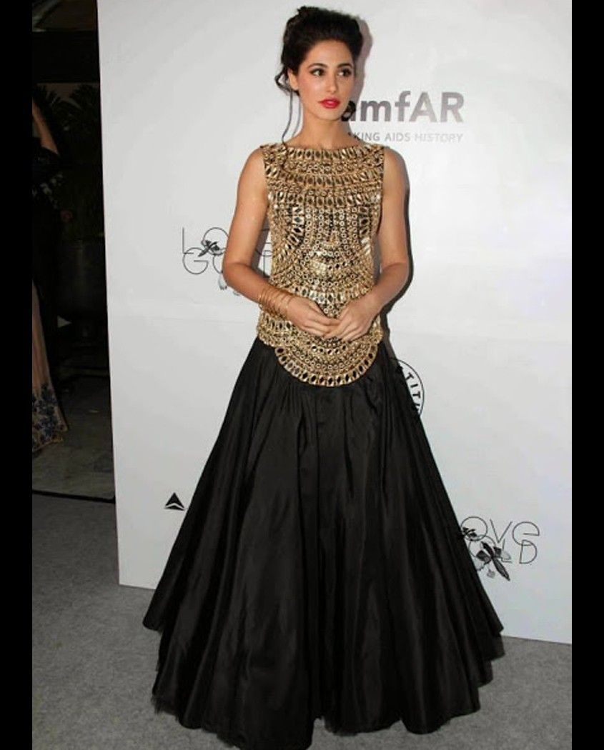Nargis Fakhri Black Top with Long Skirt 1. Black embroidered top ...