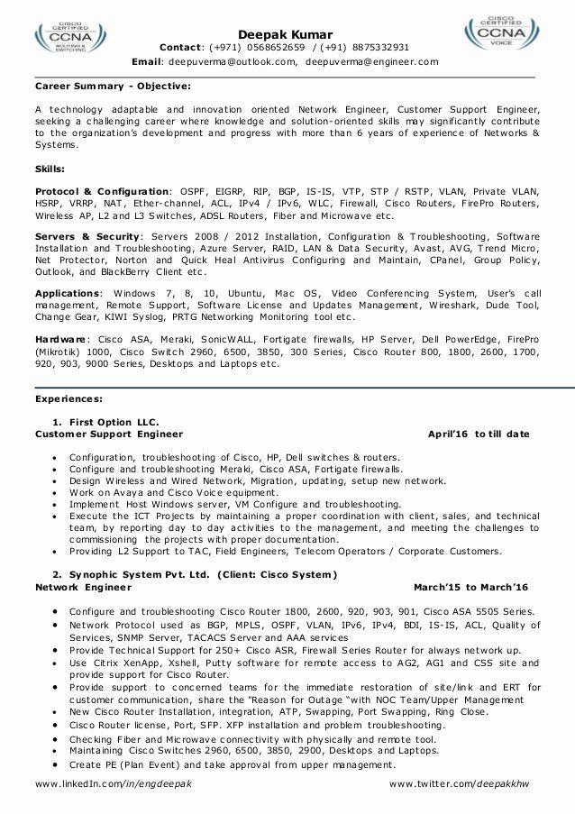 Cisco Network Engineer Resume Elegant Resume For Network Engineer L2 Network Admin Team Leader