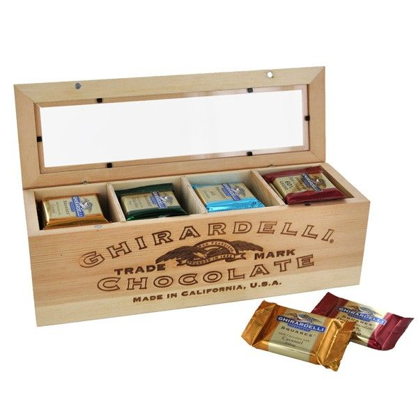 Vintage Wooden Crate With Squares Chocolates Ghirardelli Heritage