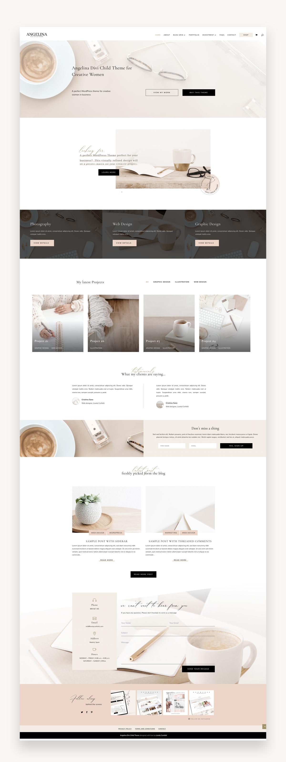 Angelina Divi Child Theme Market Wp Themes Wordpress Theme Design Feminine Wordpress Theme Web Design Inspiration