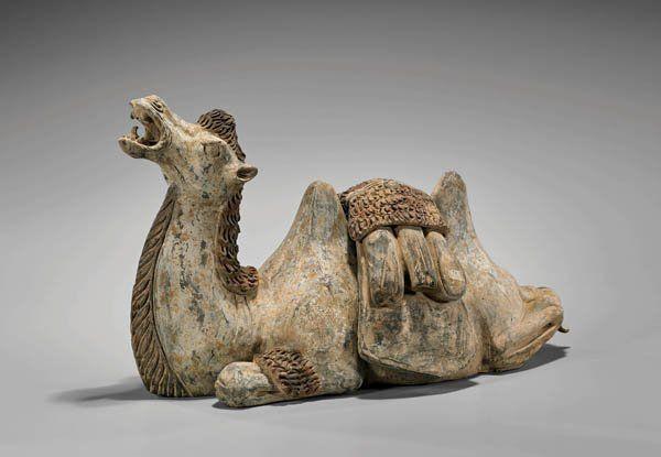 EARLY TANG DYNASTY POTTERY CAMEL