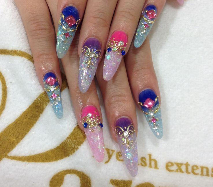Stilleto Long Acrylic Nails Japanese Nail Design Kawaii Nail Art