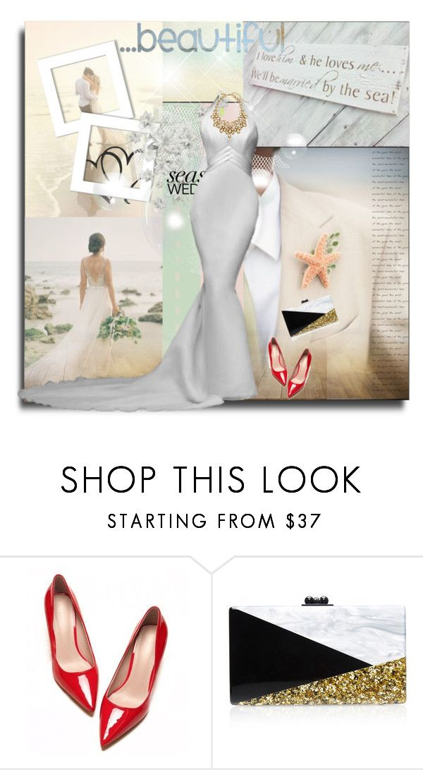 """beautiful beach wedding"" by kriz-nambikatt on Polyvore featuring Edie Parker and Oscar de la Renta"