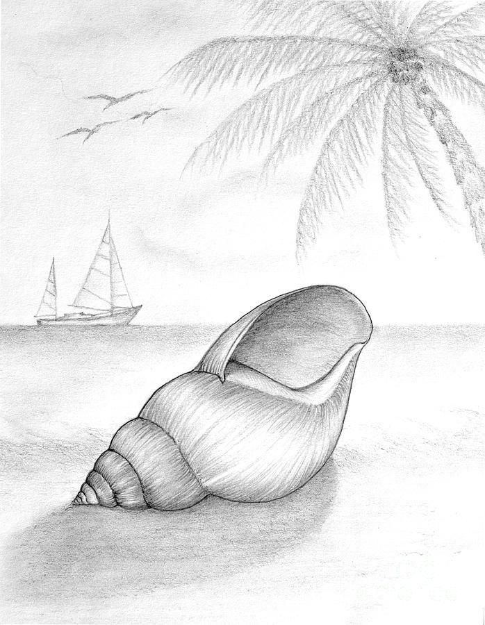 pencil-drawing-of-beach-scene-evelyn-sichrovsky.jpg (698 ...