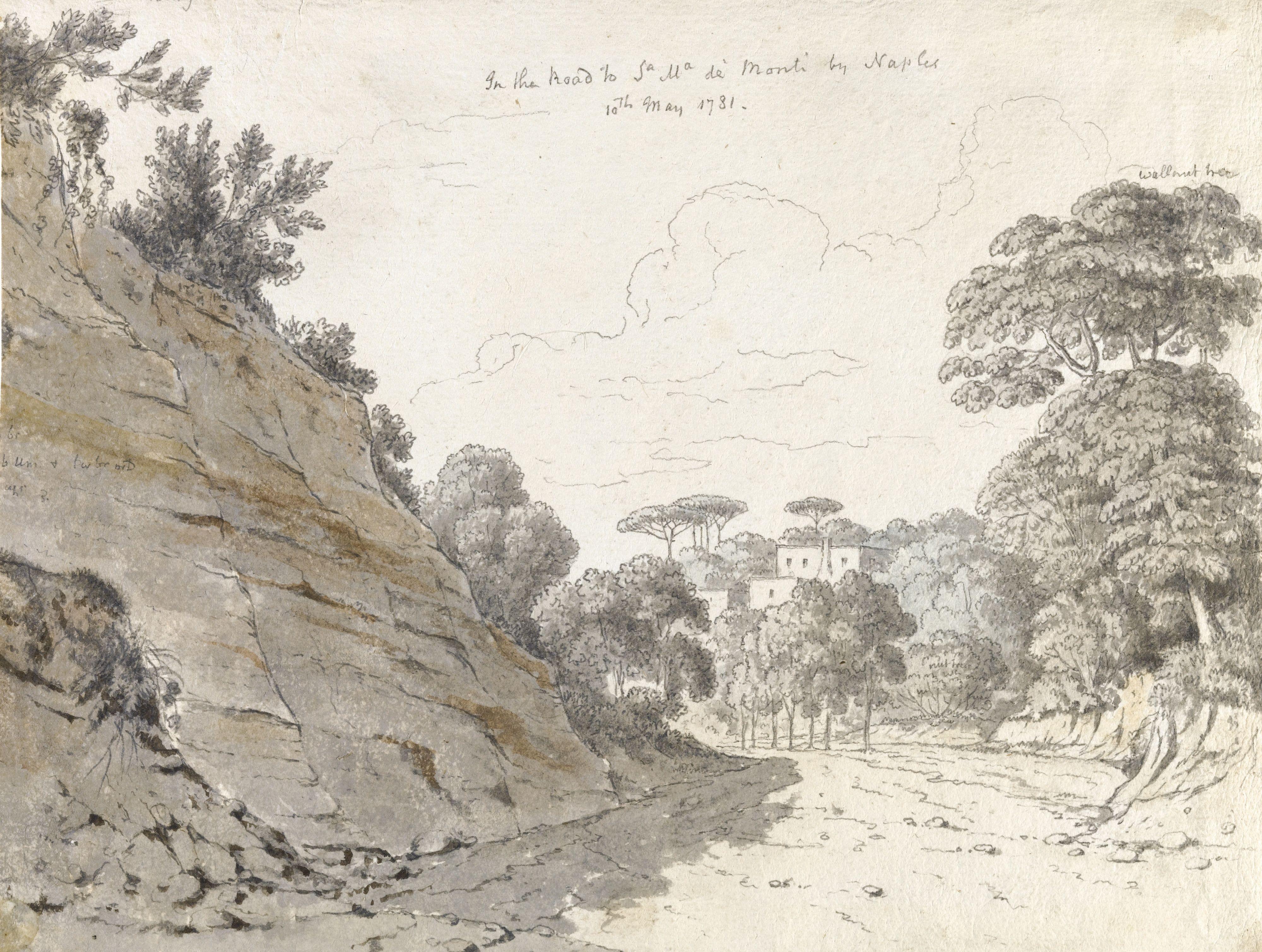 Thomas Jones Trefonnen Radnorshire 1742 1803 Carbach Road To Santa Maria Del Monte Naples Watercolour Over Pencil On L Thomas Jones Artwork Images Landscape