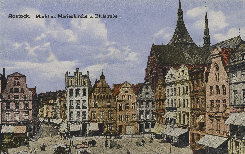 Marktplatz Mit Marienkirche Und Blutstrasse Um 1900 Rostock