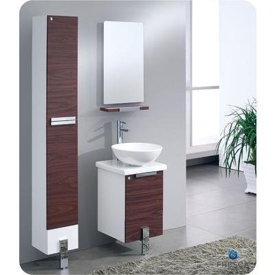 Fresca - Adour 16-Inch Dark Walnut Modern Bathroom Vanity With ...