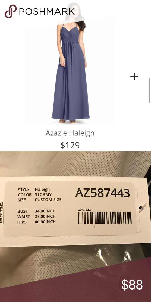 "430e9d8781 Azazie ""Haleigh"" Bridesmaid Dress The ""Haleigh"" bridesmaid dress in color  Stormy  new with tags  never worn  custom measurements—bust 34"