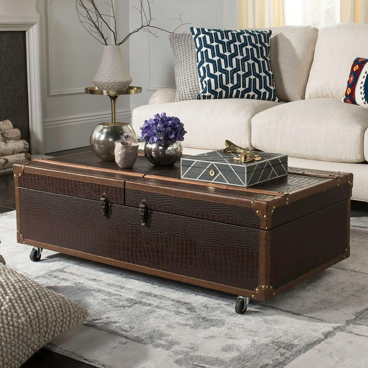 safavieh faux crocodile wine rack storage trunk coffee table