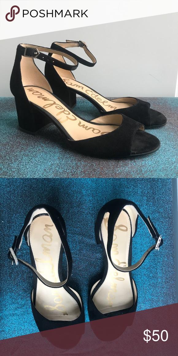 "add23a823f03 Sam Edelman Women s Susie Dress Sandal Black suede dress sandal with 2.5""  heel. Adjustable ankle strap. Lightly worn Sam Edelman Shoes Heels"