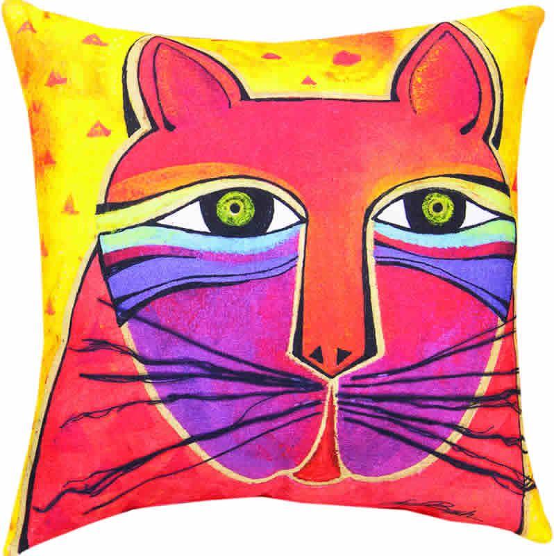 Laurel Burch Cat Throw Pillow, yellow