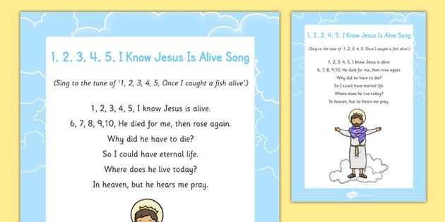 1 2 3 4 5 I Know Jesus is Alive Song - Easter, song, rhyme, jesus ...
