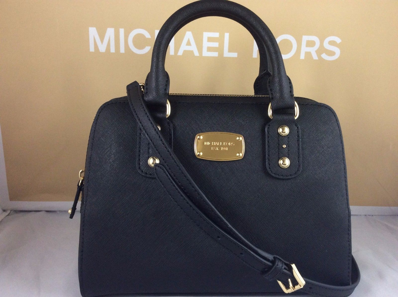 cee01393700c6 ... france nwt authentic michael kors black saffiano leather small satchel  bag purse tote 119.99 88f68 dc552 ...