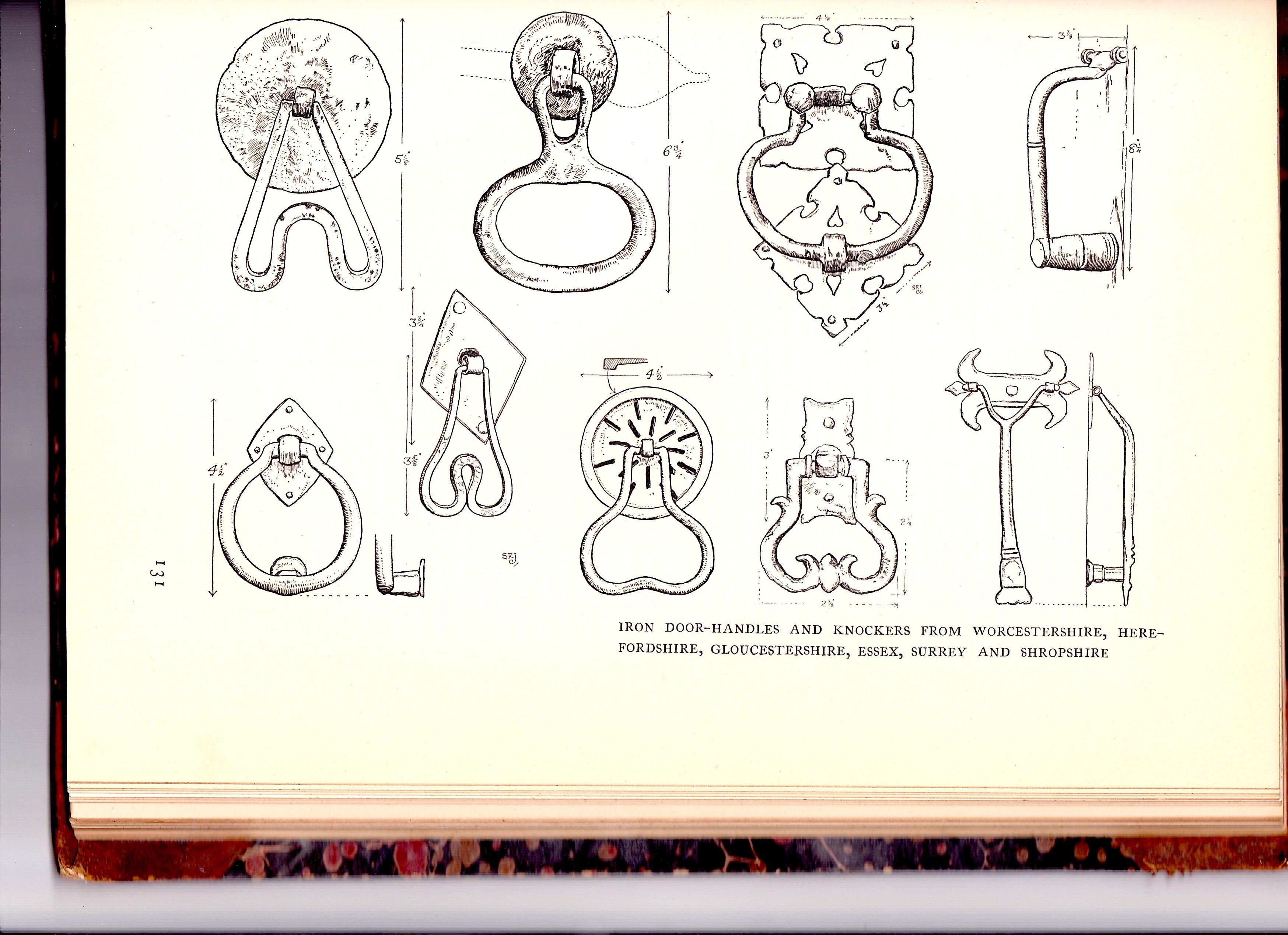 Door handles from the book uthe village homes of englandu mcmxii