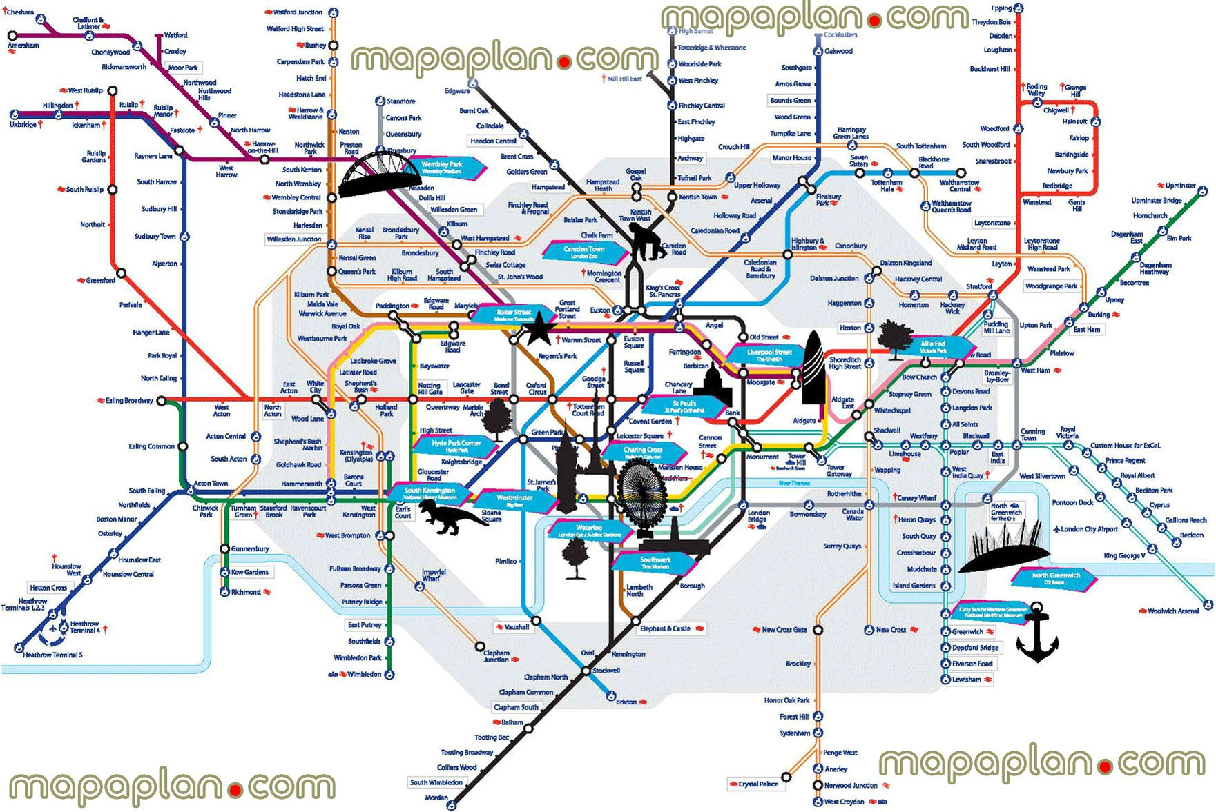 London City Tourist Map.Tube Tourist Spots Points Interest Overlay Greenwich National